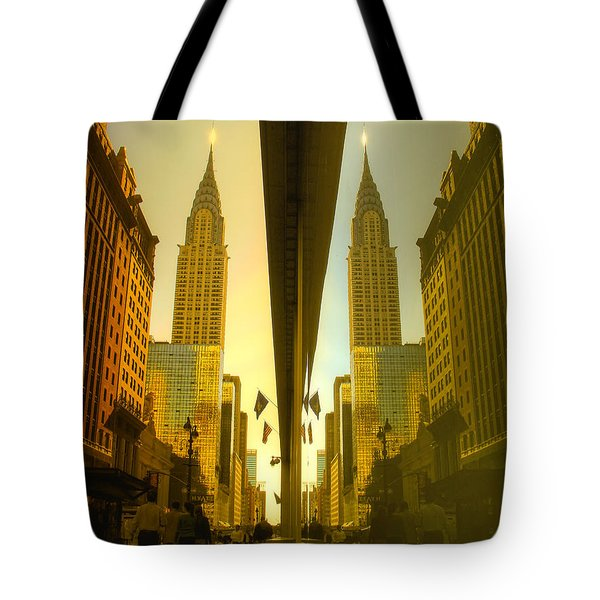 Chrysler Reflection On 42nd Street Tote Bag