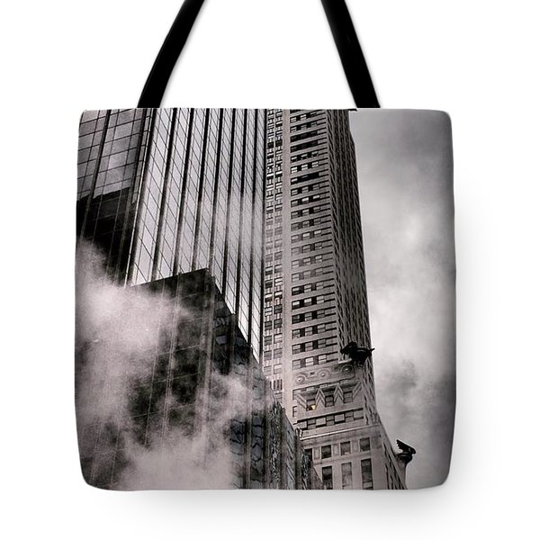 Chrysler Building With Gargoyles And Steam Tote Bag by Miriam Danar