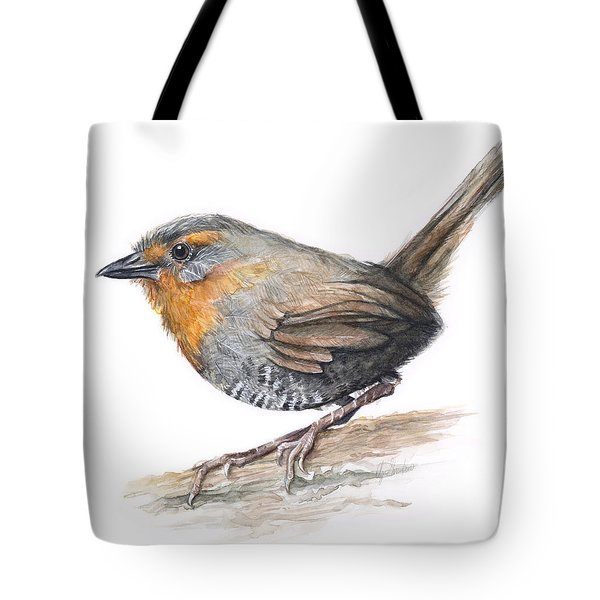 Chucao Tapaculo Watercolor Tote Bag