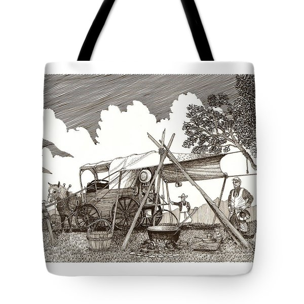 Chuckwagon Cattle Drive Breakfast Tote Bag by Jack Pumphrey