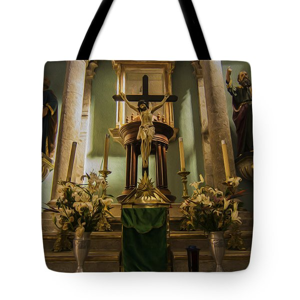 Church Altar Tote Bag by Aged Pixel