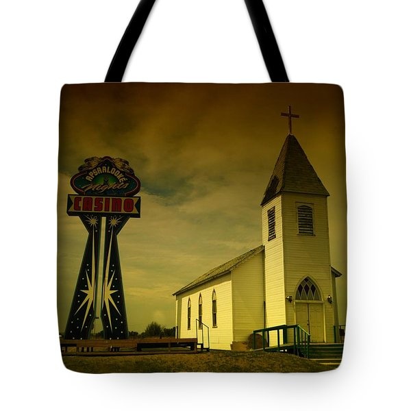 Church And Casino Those Two Angels  Tote Bag by Jeff Swan