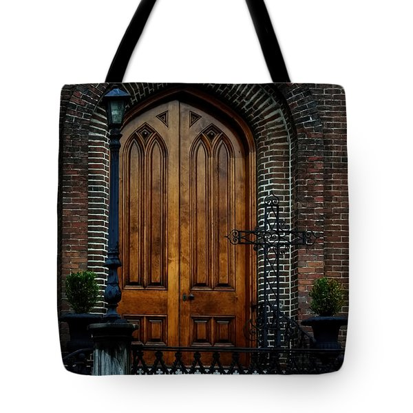 Church Arch And Wooden Door Architecture Tote Bag