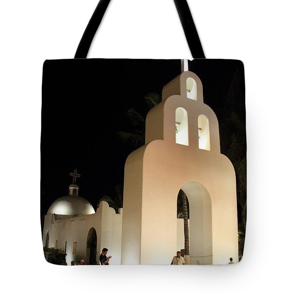 Church At Night In Playa Del Carmen Tote Bag by Roupen  Baker