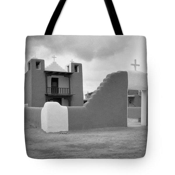 Church At Taos Pueblo Tote Bag by David and Carol Kelly