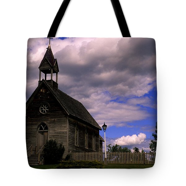 Church At The Okeefe Ranch Tote Bag by Bob Christopher