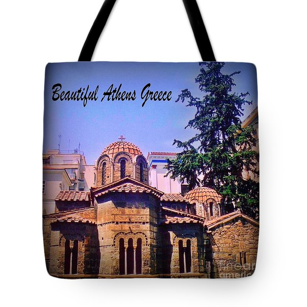 Church In Beautiful Athens Tote Bag by John Malone