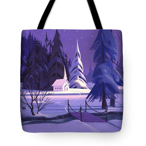 Church In Snow Tote Bag