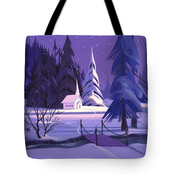Church In Snow Tote Bag by Michael Humphries