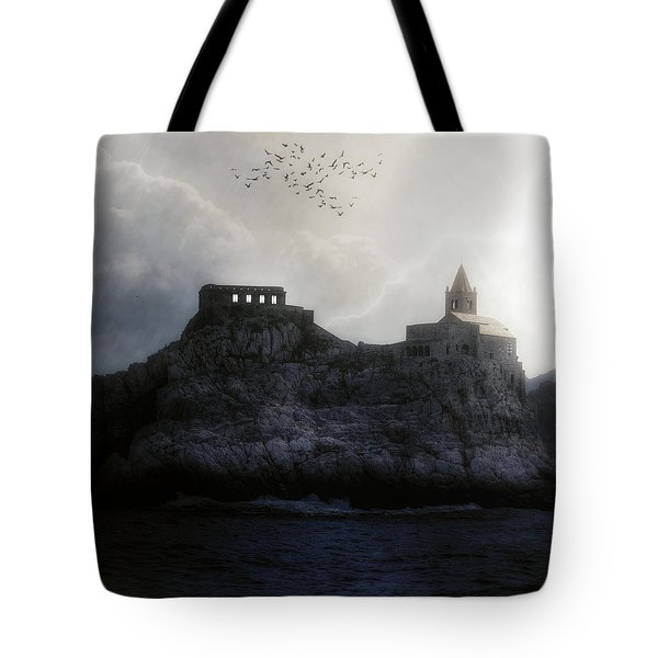 Church In Storm Tote Bag