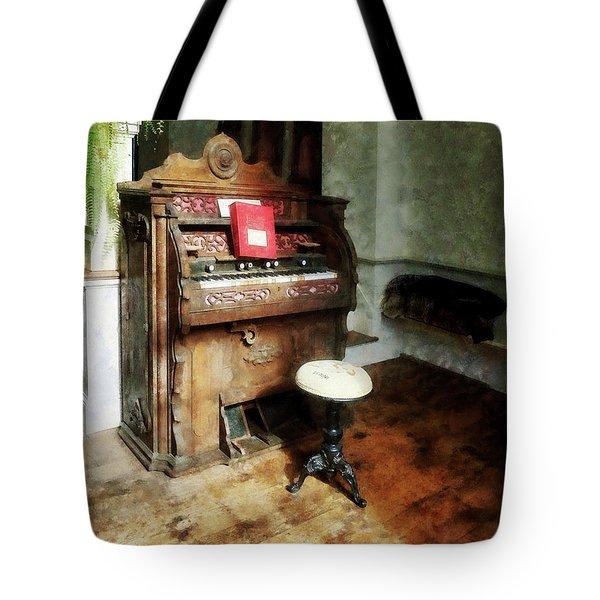 Church Organ With Swivel Stool Tote Bag by Susan Savad