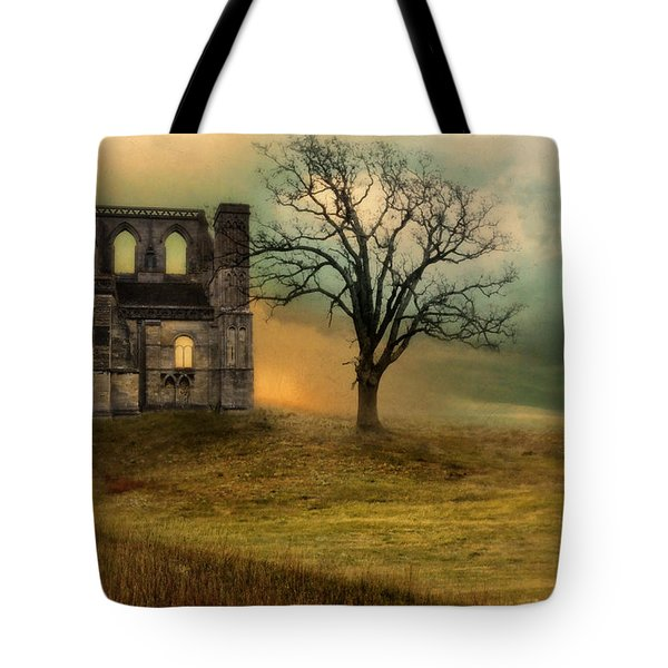 Church Ruin With Stormy Skies Tote Bag by Jill Battaglia
