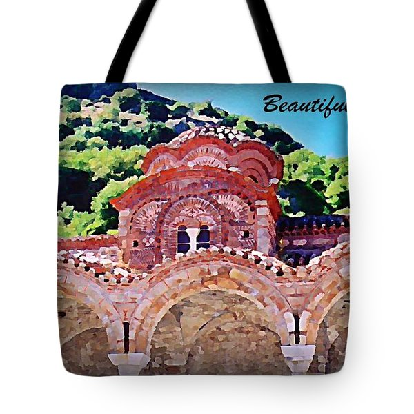 Church Ruins In Greece Tote Bag by John Malone