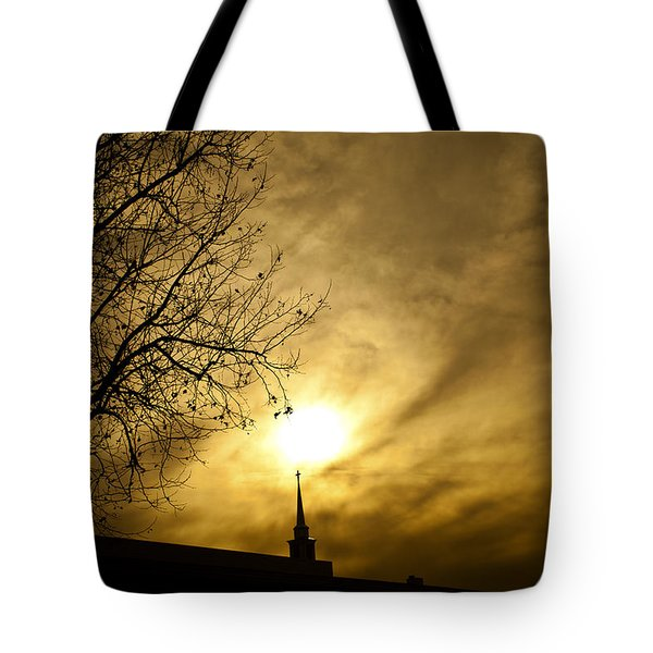 Tote Bag featuring the photograph Church Steeple Clouds Parting by Jerry Cowart