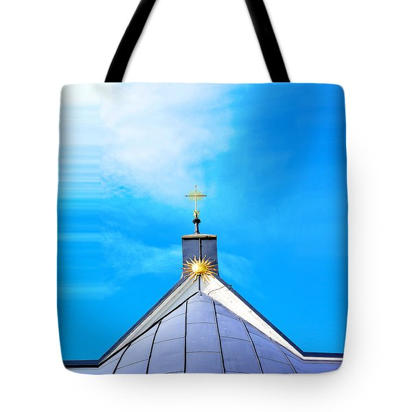 Church Top With Sun And Cross Tote Bag by Tommytechno Sweden