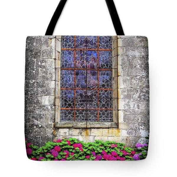 Church Window In Brittany Tote Bag by Elena Elisseeva