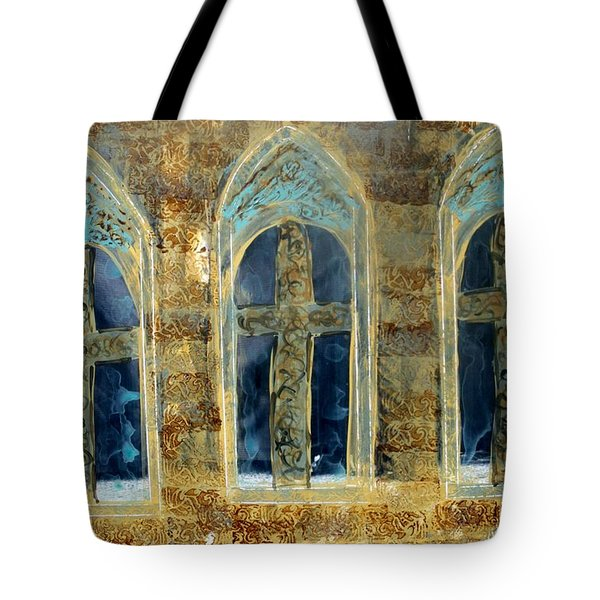Tote Bag featuring the photograph Church Windows by Lesley Fletcher