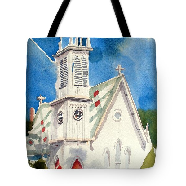 Church With Jet Contrail Tote Bag