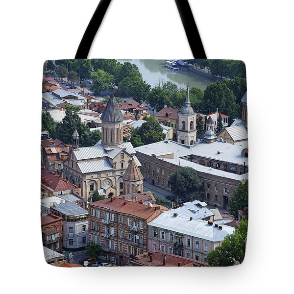 Churches By The Mtkvari River In Tbilisi Tote Bag by Robert Preston