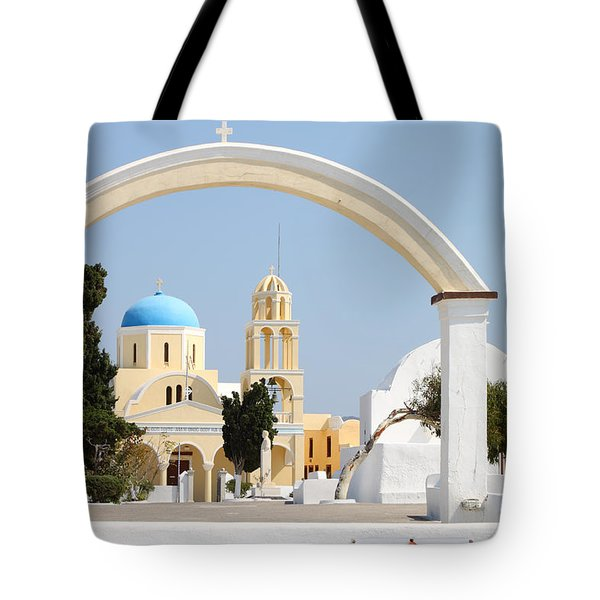 Churches Oia Santorini Greek Islands Tote Bag by Carole-Anne Fooks