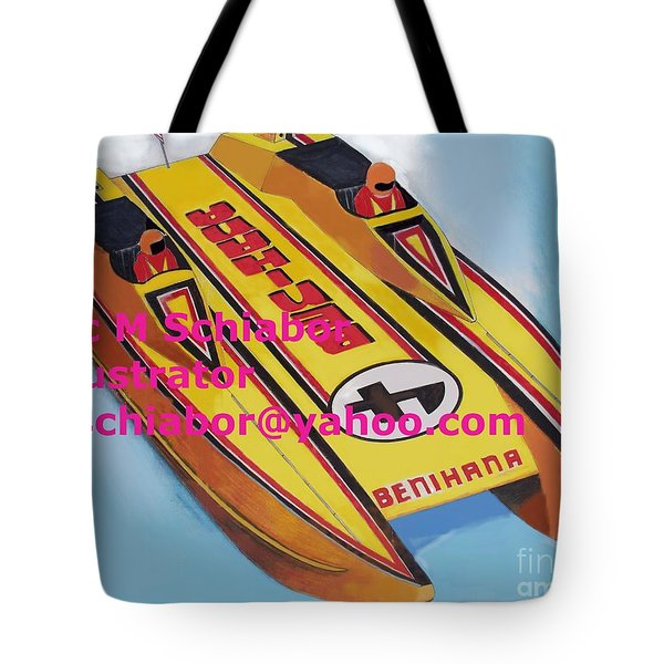 Cigarett Power Boat Illustration Tote Bag by Eric  Schiabor