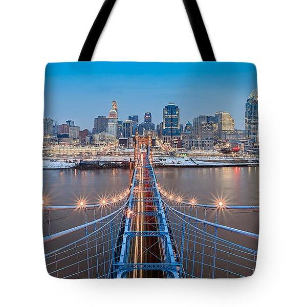 Cincinnati From On Top Of The Bridge Tote Bag by Keith Allen