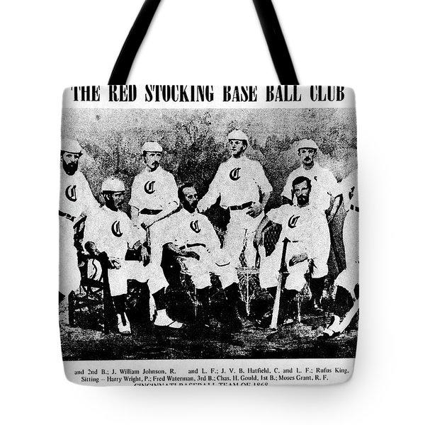 Cincinnati Red Stocking Baseball Team Tote Bag