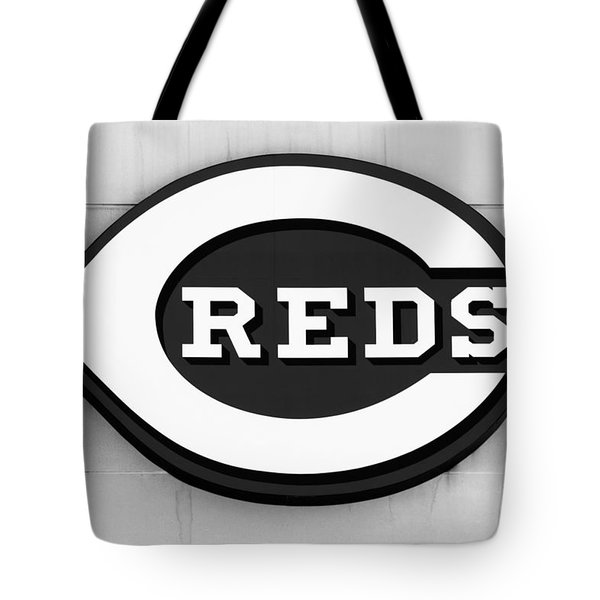 Cincinnati Reds Sign Black And White Picture Tote Bag by Paul Velgos