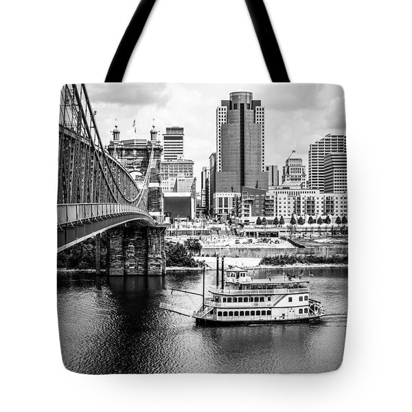 Cincinnati Riverfront Black And White Picture Tote Bag by Paul Velgos
