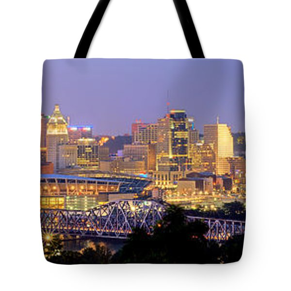 Tote Bag featuring the photograph Cincinnati Skyline At Dusk Sunset Color Panorama Ohio by Jon Holiday