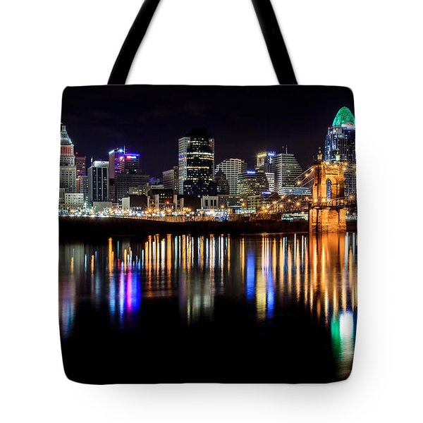 Cincinnati Skyline In Christmas Colors Tote Bag by Keith Allen
