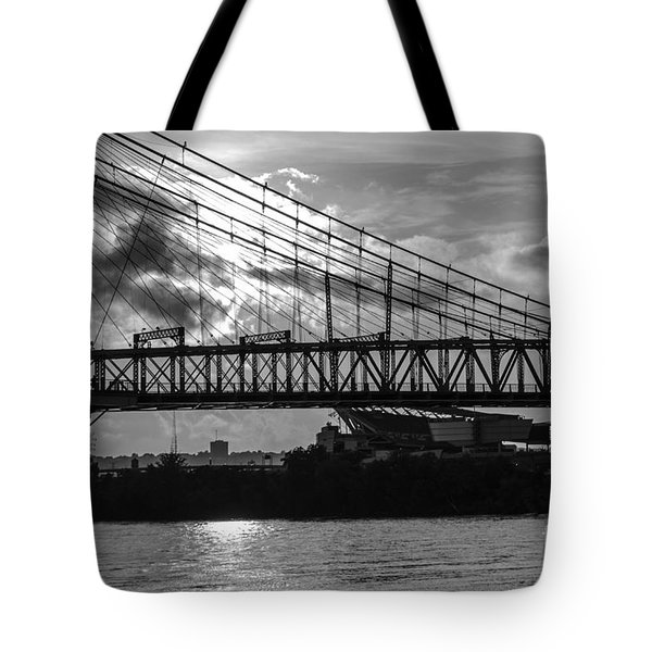 Cincinnati Suspension Bridge Black And White Tote Bag by Mary Carol Story