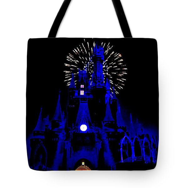 Cinderella Castle Fireworks Tote Bag by Benjamin Yeager