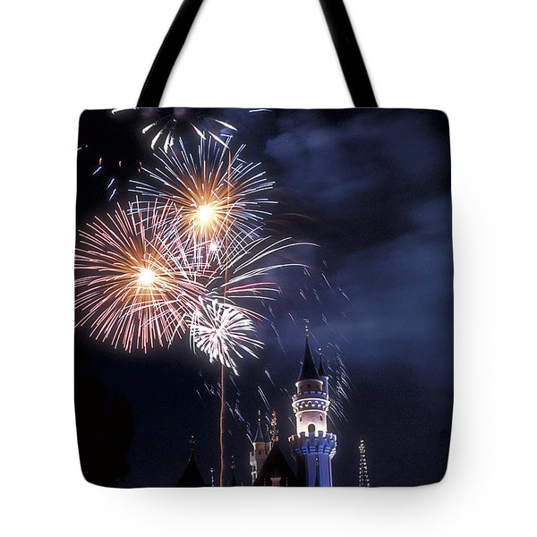 Cinderella Castle Fireworks Iconic Fairy-tale Fortress Fantasyland Tote Bag by David Zanzinger