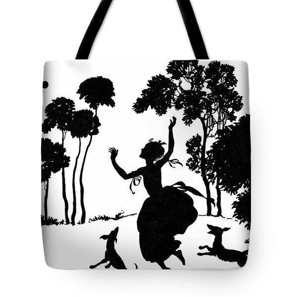 Cinderella Playing With Her Dogs Tote Bag by Arthur Rackham