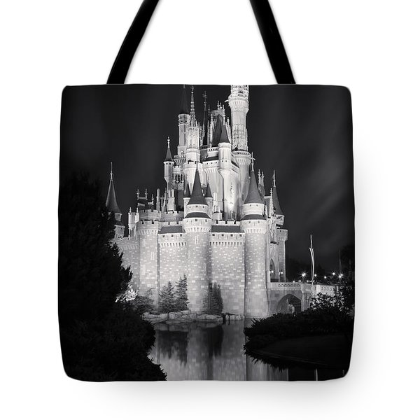 Cinderella's Castle Reflection Black And White Tote Bag