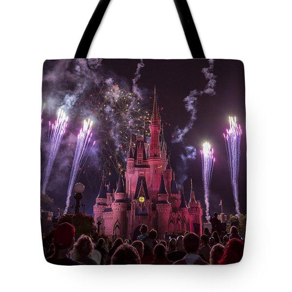 Cinderella's Castle With Fireworks Tote Bag