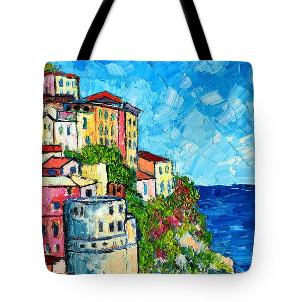 Cinque Terre Italy Manarola Painting Detail 3 Tote Bag by Ana Maria Edulescu