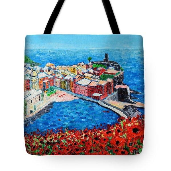 Cinque Terre Vernazza Poppies Tote Bag
