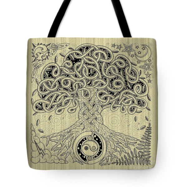 Circle Celtic Tree Of Life Inked Tote Bag