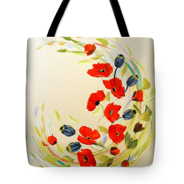 Tote Bag featuring the painting Circle Of Poppies by Dorothy Maier