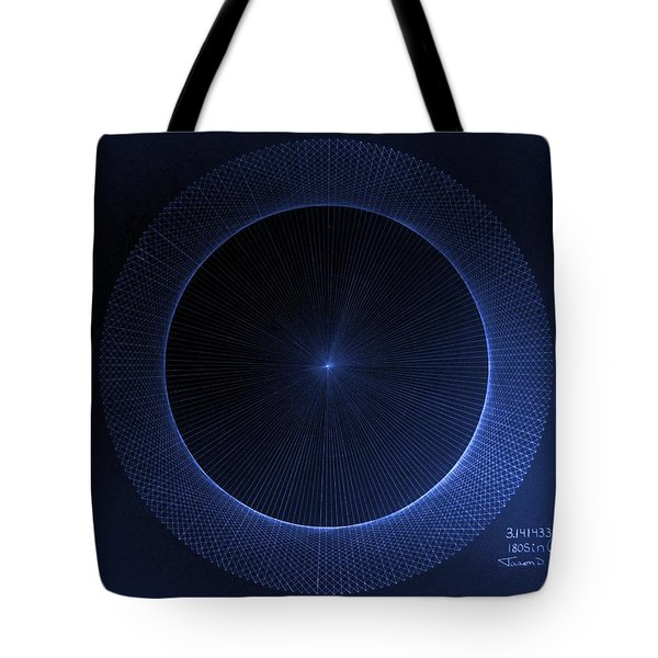 Tote Bag featuring the drawing Circles Don't Exist Pi 180 by Jason Padgett