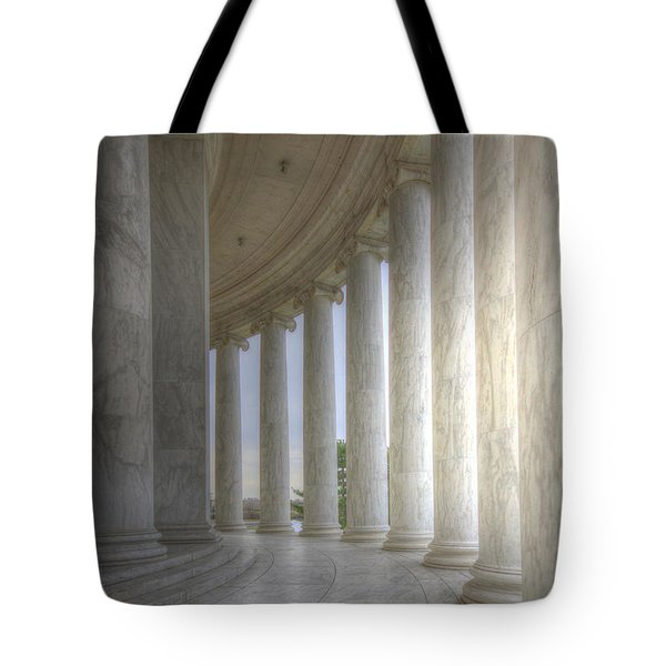 Circular Colonnade Of The Thomas Jefferson Memorial Tote Bag by Shelley Neff