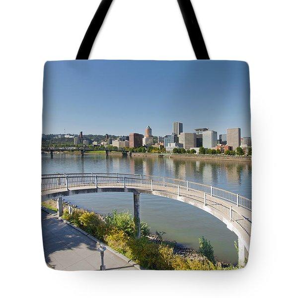 Tote Bag featuring the photograph Circular Walkway On Portland Eastbank Esplanade by JPLDesigns