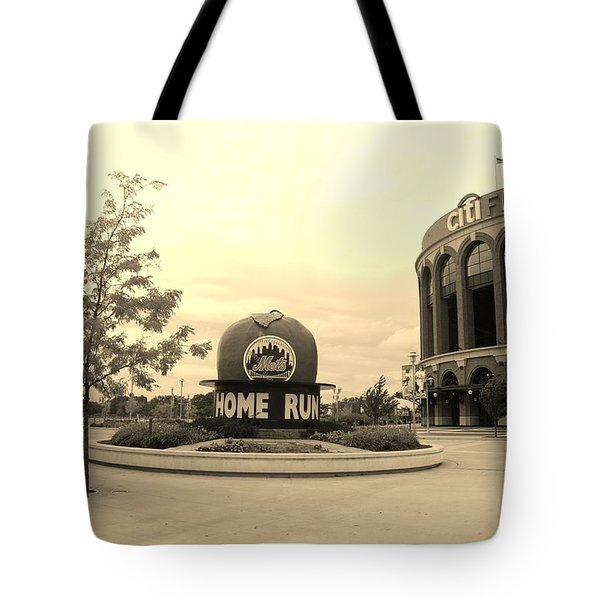 Citi Field In Sepia Tote Bag by Rob Hans