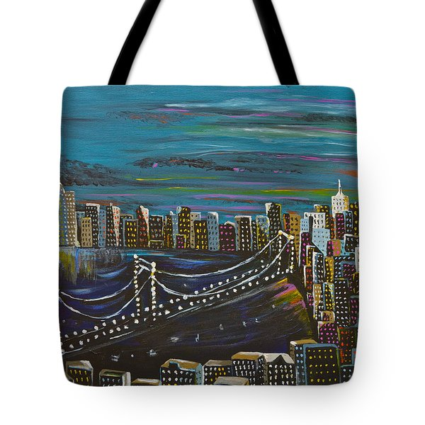 Tote Bag featuring the painting Citiscape by Donna Blossom