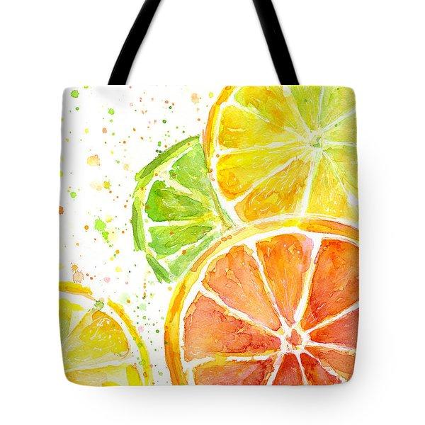 Citrus Fruit Watercolor Tote Bag by Olga Shvartsur