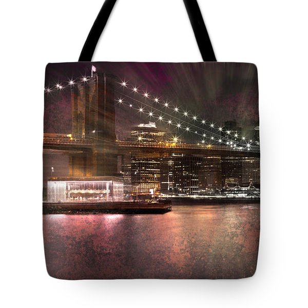 City-art Brooklyn Bridge Tote Bag by Melanie Viola