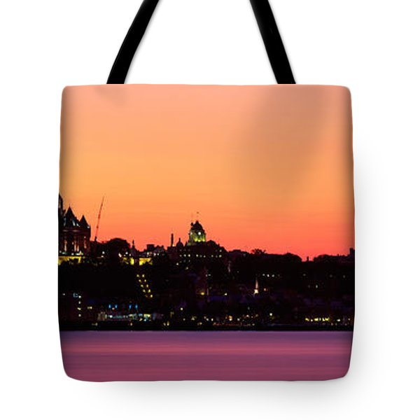 City At Dusk, Chateau Frontenac Hotel Tote Bag