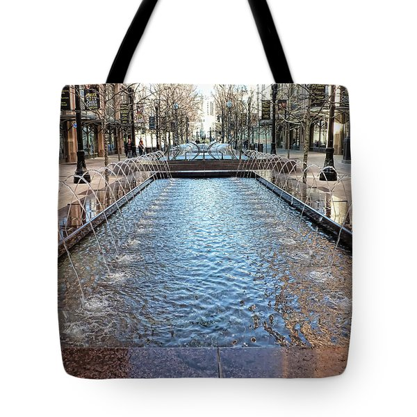 Tote Bag featuring the photograph City Creek Fountain - 1 by Ely Arsha